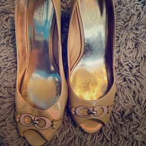 Size 9.5 patent leather wedge heels Coach